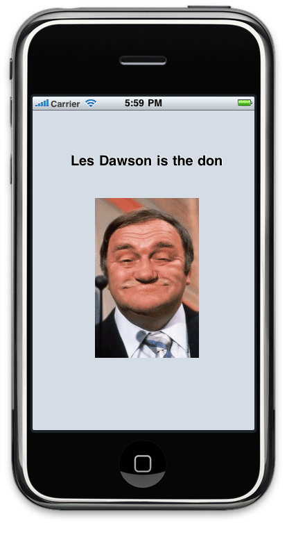 The finished Les Dawson application