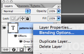 Blending options on a layer