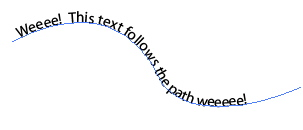 Text following a path