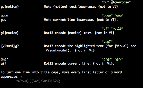 Screenshot of Vim's help showing lowercase entry