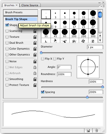 Setting the spacing on a brush