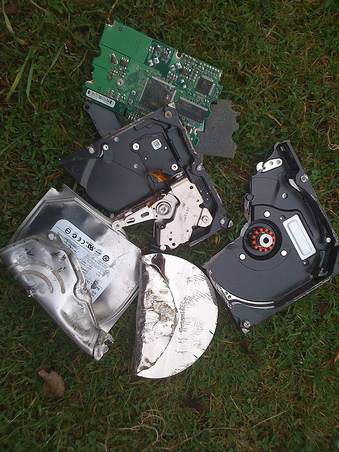 Smashed up hard drive