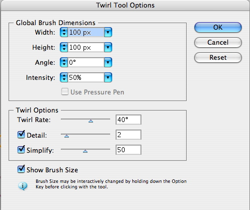 Twirl Tool Options
