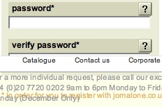Verify password on Jo Malone site