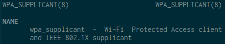 Terminal showing wpa_supplicant man page