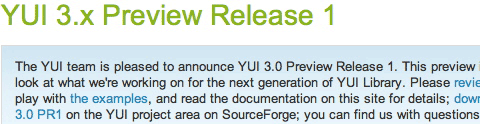 YUI 3.x Preview Release 1